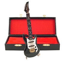 Miniature Musical Instruments - Miniature Black Electric Guitar with Case
