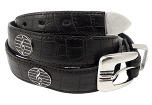 Belts - Leather Belt With Silver G-Clef Medallions