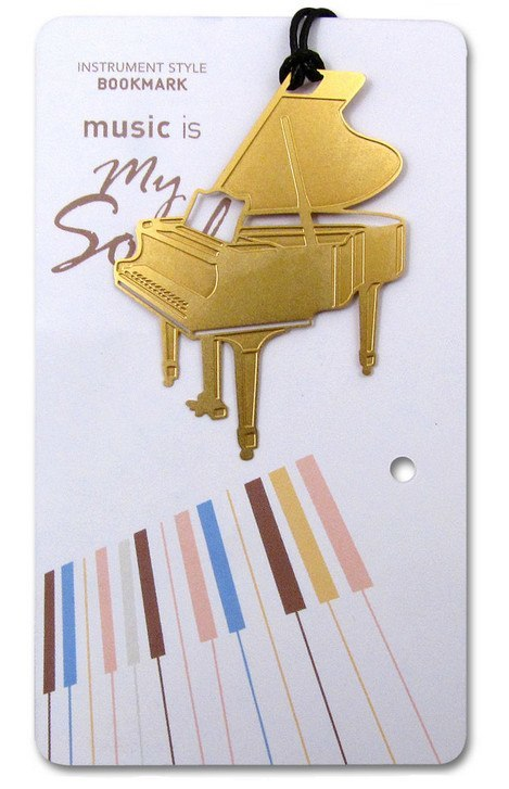 Bookmarks - Gold Piano Bookmark