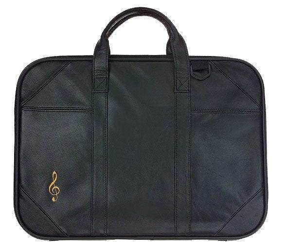 Briefcases - Black Leather Briefcase With Embroidered G-Clef
