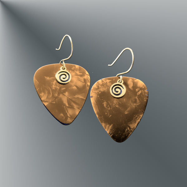 Brown Guitar Pick Earrings