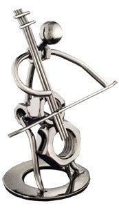 Musician Figurines - Silver Cello Player Figurine
