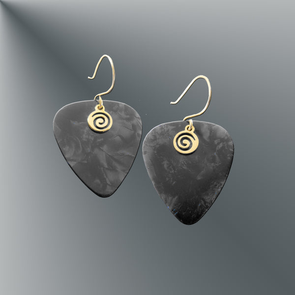 Charcoal Guitar Pick Earrings
