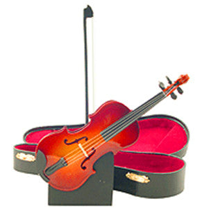 Miniature Musical Instruments - Miniature Fiddle with Case and Bow