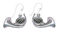 French Horn Sterling Silver Earrings