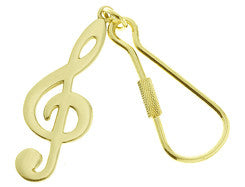 Polished Brass G-Clef Keychain