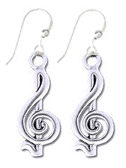 Earrings - G-Clef Sterling Silver Earrings