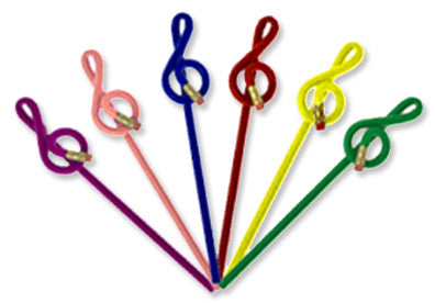 Pencils - Bright Color G-Clef Shaped Pencils