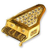 Brooches - Gold Piano Rhinestone Brooch