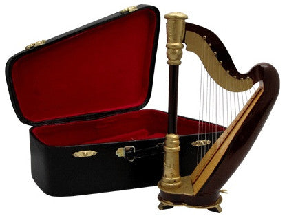Miniature Musical Instruments - Miniature Harp and Case