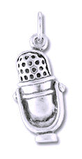 Microphone Sterling Silver Charm