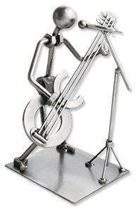 Musician Figurines - Silver Guitar Player With Microphone Figurine