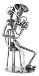 Musician Figurines - Silver Tuba Player Figurine