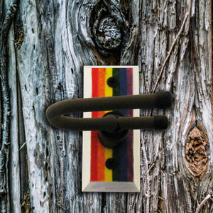Dulcimer Wall Hanger - Rainbow Flag - Distressed Reclaimed Oak