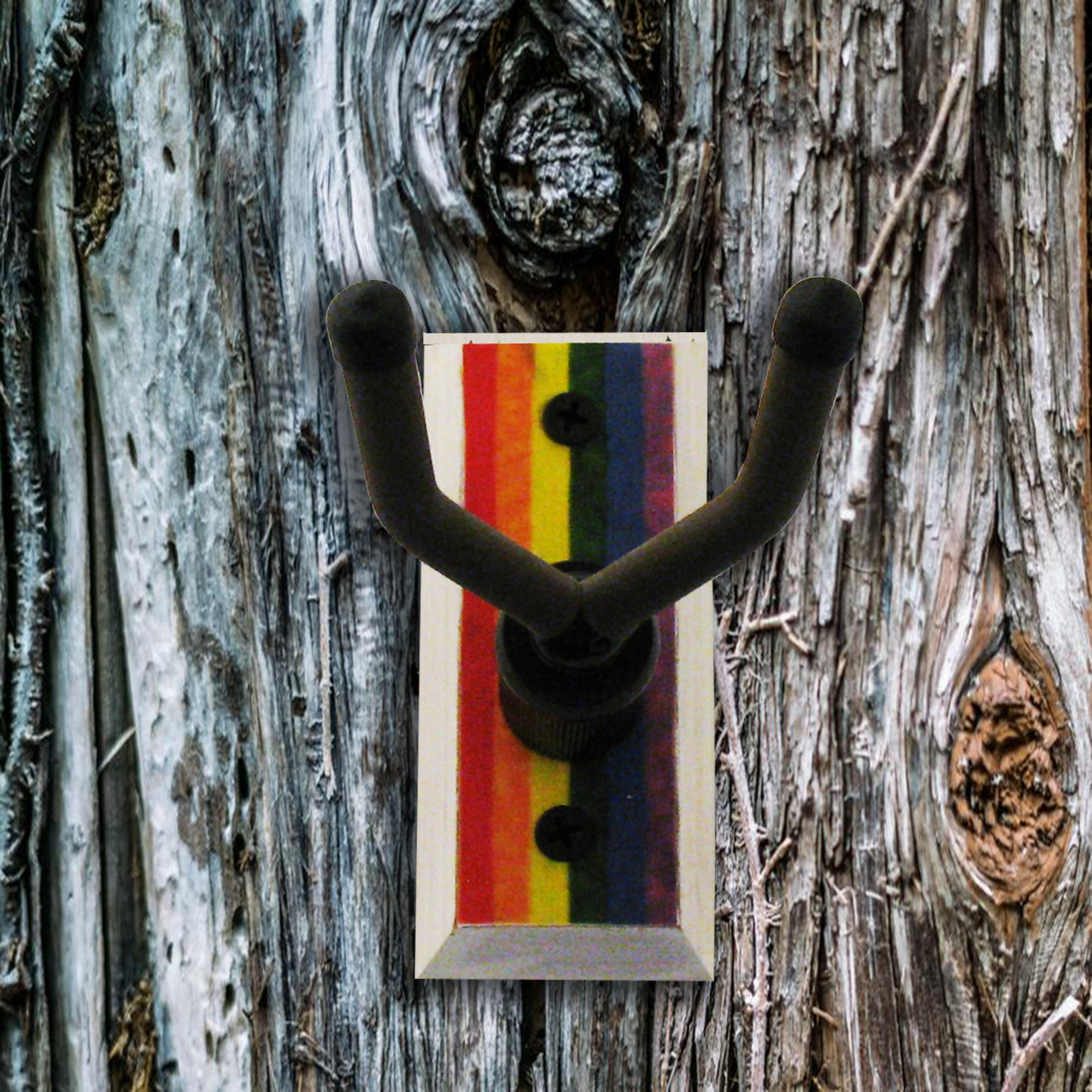 Mandolin Wall Hanger - Rainbow Flag - Distressed Reclaimed Oak