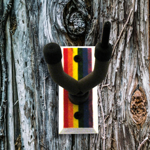 Fiddle Wall Hanger - Rainbow Flag - Distressed Reclaimed Oak