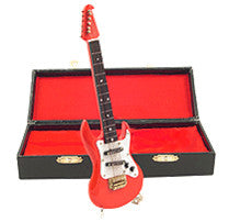 Miniature Musical Instruments - Miniature Red Electric Guitar with Case
