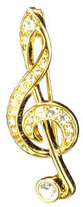 Brooches - Gold G-Clef Rhinestone Brooch