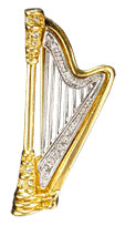 Brooches - Gold and Silver Rhinestone Harp Brooch