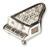 Brooches - Silver Piano Rhinestone Brooch