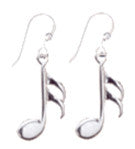 16th Note Sterling Silver Earrings