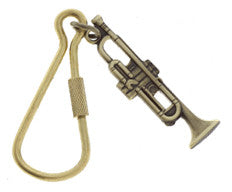 Keychains - Antique Brass Trumpet Keychain