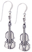 Earrings - Violin Sterling Silver Earrings