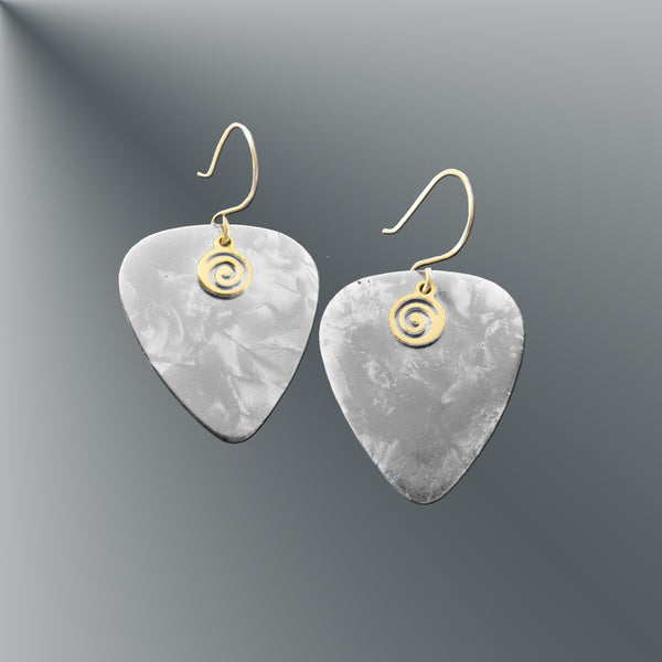 White Guitar Pick Earrings