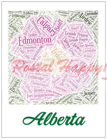 Provincial Alberta Flower filled with city names Postcard