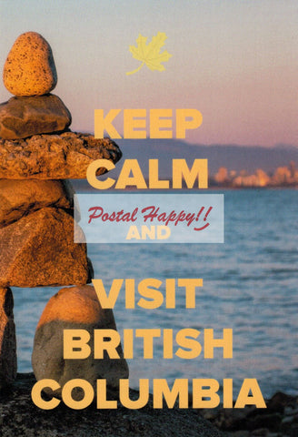 """Keep Calm and Visit British Columbia"" Postcard"
