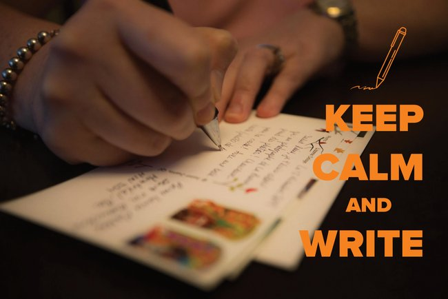 """Keep Calm & Write"" Postcard"