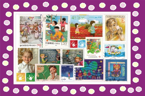 World Kids Stamps Postcard