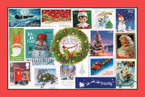 Christmas Stamps Postcard