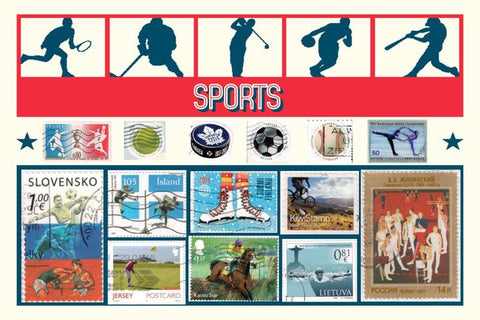 International Sports Stamps Postcard