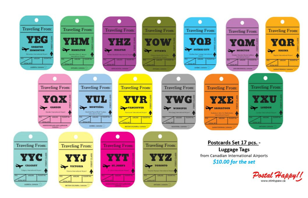 Postcards Set of 17 pieces -Luggage Tags