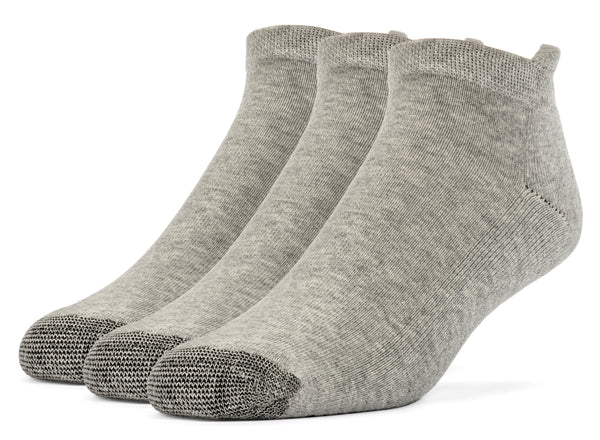 Galiva Women's Cotton ExtraSoft No Show Cushion Socks - 3 Pairs, Small, Grey