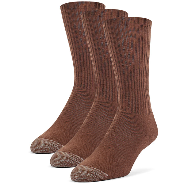 Galiva Men's Cotton ExtraSoft Crew Cushion Socks - 3 Pairs, Small, Brown
