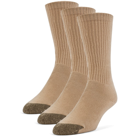 Galiva Men's Cotton ExtraSoft Crew Cushion Socks - 3 Pairs, Small, Nude Beige