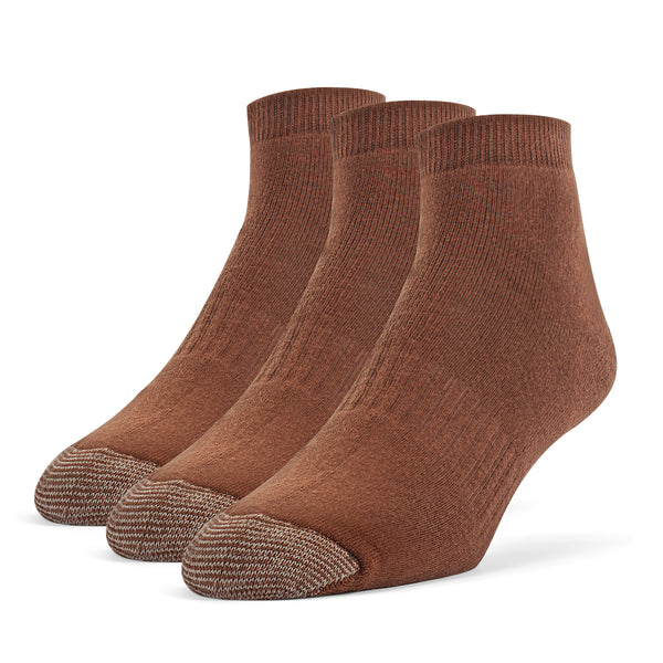 Galiva Men's Cotton ExtraSoft Ankle Cushion Socks - 3 Pairs, Small, Brown
