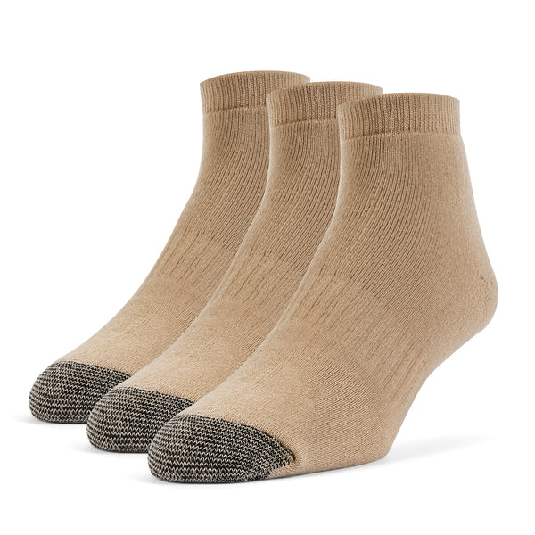 Galiva Men's Cotton ExtraSoft Ankle Cushion Socks - 3 Pairs, Small, Nude Beige