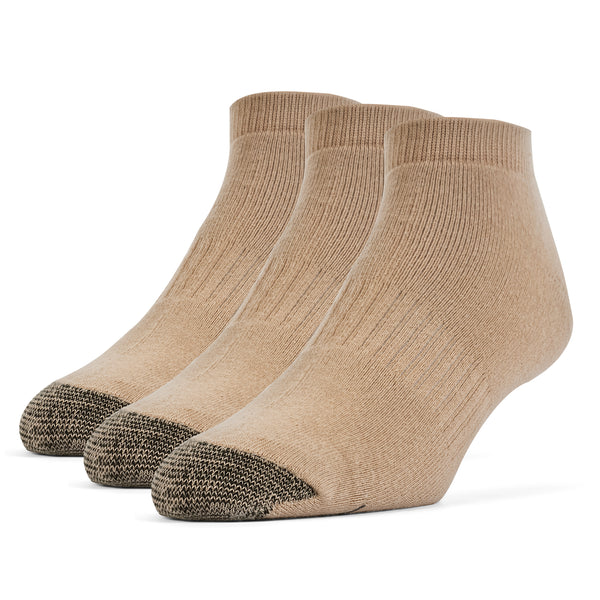 Galiva Men's Cotton ExtraSoft Low Cut Cushion Socks - 3 Pairs, Small, Nude Beige