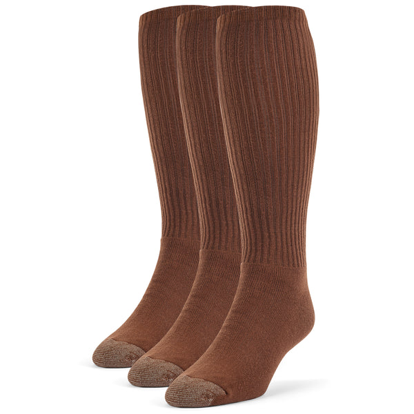 Galiva Men's Cotton ExtraSoft Over the Calf Cushion Socks - 3 Pairs, Small, Brown