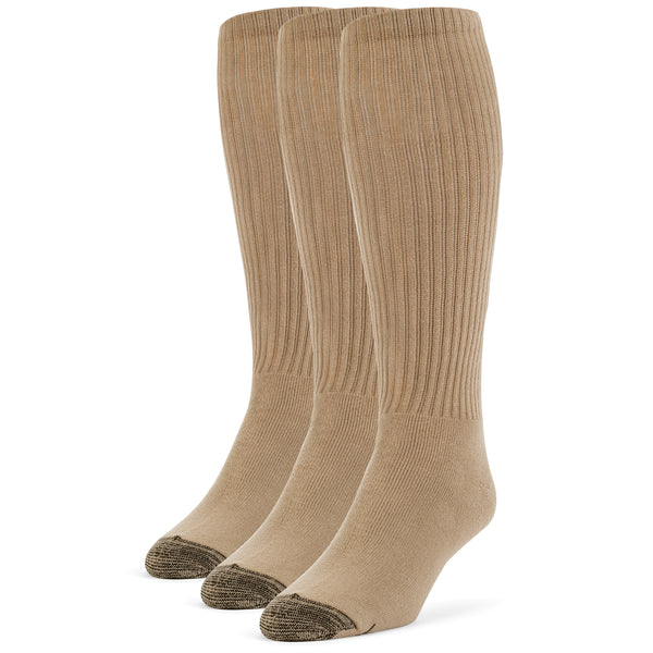Galiva Men's Cotton ExtraSoft Over the Calf Cushion Socks - 3 Pairs, Small, Nude Beige