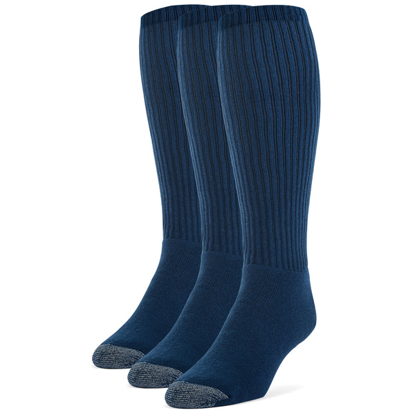 Galiva Men's Cotton ExtraSoft Over the Calf Cushion Socks - 3 Pairs, Small,  Navy Blue