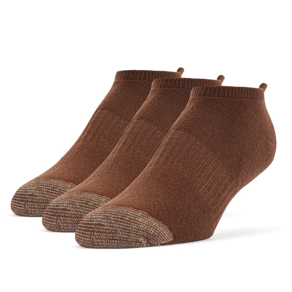 Galiva Men's Cotton ExtraSoft No Show Cushion Socks - 3 Pairs, Small, Brown