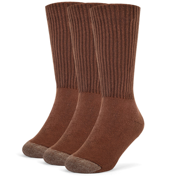Galiva Boys' Cotton ExtraSoft Crew Cushion Socks - 3 Pairs, Small, Brown