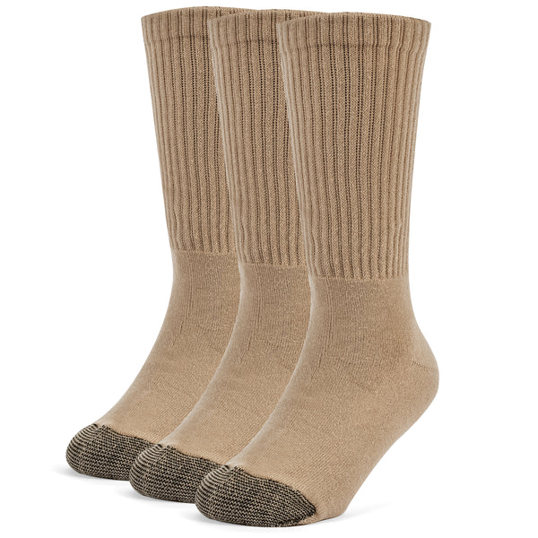 Galiva Boys' Cotton ExtraSoft Crew Cushion Socks - 3 Pairs, Small, Nude Beige