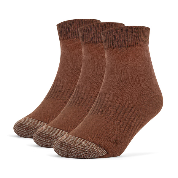 Galiva Boys' Cotton ExtraSoft Ankle Cushion Socks - 3 Pairs, Small, Brown