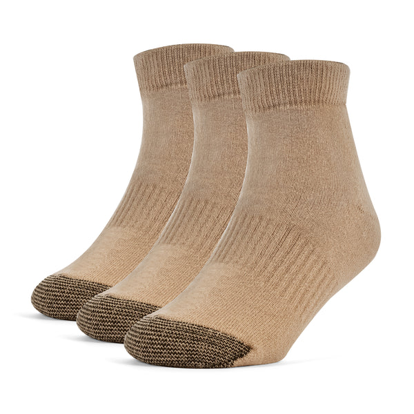 Galiva Boys' Cotton ExtraSoft Ankle Cushion Socks - 3 Pairs, Small, Nude Beige