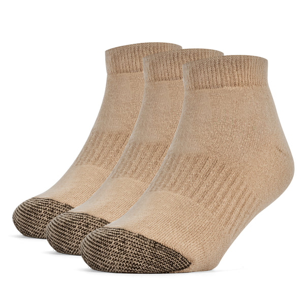 Galiva Boys' Cotton ExtraSoft Low Cut Cushion Socks - 3 Pairs, Small, Nude Beige